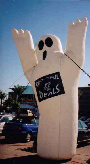 ghost inflatables - Halloween advertising balloons for rent.