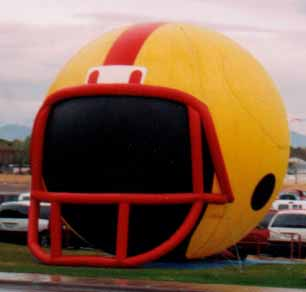 Football helmet cold-air inflatables for sale and rent.