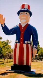 Patriotic balloons - Uncle Sam inflatables.