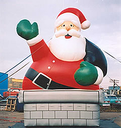 Christmas inflatable - Chimney Santa balloon - a crowd favorite.