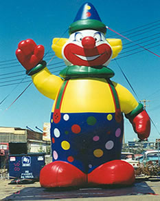 Clown advertising inflatables available for rent and sale.