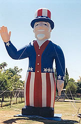 Uncle Sam patriotic advertising inflatables. 25ft. Uncle Sam cold-air inflatable.